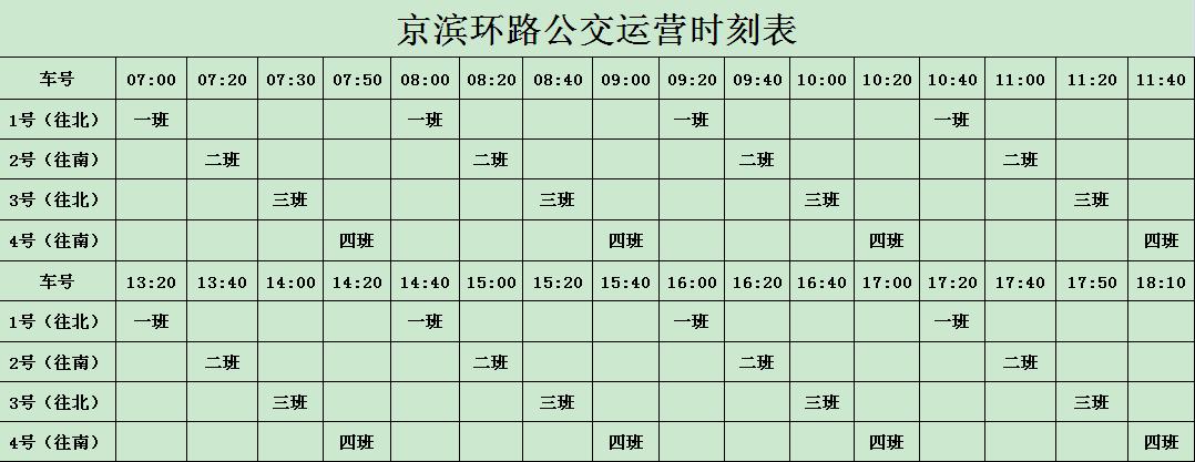 京滨环路公交运行时刻表、运行路线调整通知